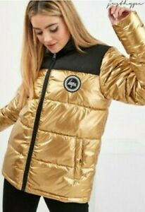 NEW Just Hype Gold Foil Puffer Jacket Coat Size 8