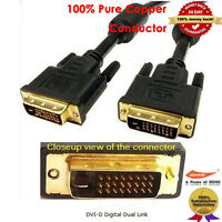 10FT GOLD DVI-D Male to Male 25pin 24 +1 DVI Digital Video PC Monitor Cable Lead