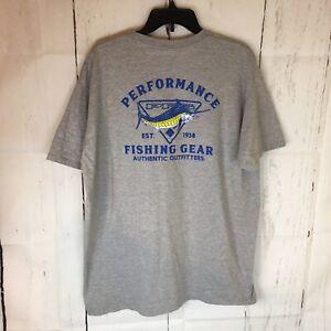 Columbia PFG Marlin Fish Graphic T Shirt Men 2 XL Short Sleeve Cotton Blend Gray