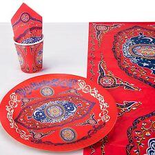Ornate Red Floral Eid Mubarak Tableware Set - Cups Plates Napkins & Tablecloth