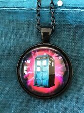 Doctor Who Tardis Bright Electric Glass dome Pendant Necklace. Movie TV Shows.