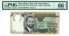 Mozambique 50 Meticais 2017 PMG 66 EPQ s/n BA 97828867 Polymer