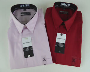 Geoffrey Beene GB Wrinkle Free Point Collar Dress Shirt Striped Pink Red NWT $59