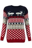 A37 Men Unisex Ladies Reindeer & Snowflake Xmas Retor Knitted Jumper Plus Size