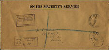 GILBERT & ELLICE 1941 OHMS registered CENSORED cover to Canada