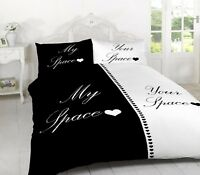 Luxury Couple My Space Your Space Black/White Duvet Cover Set Bedding Pillowcase