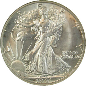 1941 D WALKING LIBERTY HALF DOLLAR-ANACS MS65 SMALL WHITE HOLDER GREAT LUSTER