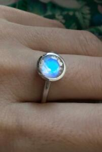 Solid 925 Sterling silver Blue Moonstone Engagement Promise Ring for Her