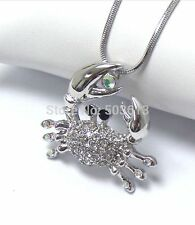 FREE GIFT BAG Silver Plated Rhinestone Crystal Crab Necklace Chain Jewellery