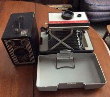 2 Vintage Cameras AS IS Parts or Props brownie target six-16 Polaroid 104
