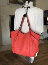 KOOBA Large Red Orange Pebbled Leather Handbag