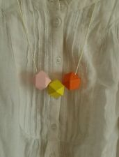 funky Hand Made Geometric Wooden statement Necklace Adjustable -yellow