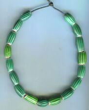 African trade beads Vintage Venetian glass old 4 layer green chevron melon beads