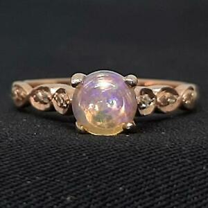 Genuine 1.30ctw Opal & H-SI Diamond 14K Rose Gold 925 Sterling Silver Ring