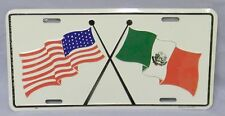 US  MEXICO Mexican  Flag flags  metal vanity License Plate - new in shrink wrap