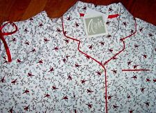 NWT Aria Ivory/RED CARDINAL BIRDS 100% Cotton FLANNEL Pajama Set S Black/Gray