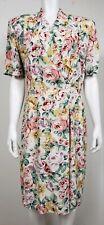Vintage Carol Anderson Womens Floral Dress Sz 10 Casual Short Sleeve 100% Rayon