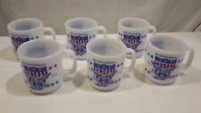 6 Glasbake Milk Glass Coffee Cup Mugs American Flag /Bicentennial Red White Blue