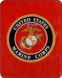 Queen US Marine Corps Emblem United States Military Faux Fur Plush Blanket Core
