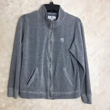 Oleg Cassini Size Large Gray Velour Sweatshirt Jacket Zip Up Full Zip