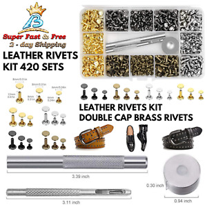 Repair Craft Leather Double Cap Brass Rivets Kit Leather Stud With Setting Tools