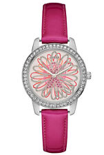 NWT GUESS Women's Fuchsia Pink & Silver Tone Watch Flower dial U0032L5