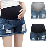 Women Pregnant Summer Casual Jeans Maternity Solid Denim Shorts Prop Belly Pants