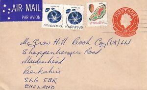 RRR2313  Australia Qld Townsville 1977 air UK;  27c stamp worth uprate 18c PSE