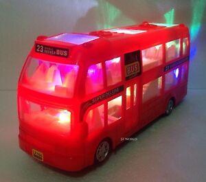 London Double Decker Tourist Bump & Go Orange Bus-Sound &LED Light Souvenir Toy