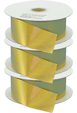 3 Rolls 1in Gold Ribbon Deco Mesh No-Wire Holidays Christmas Bows Gift Wrapping