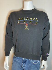ATLANTA 1996 OLYMPICS EMBROIDERED Vtg black Sweatshirt Mens L