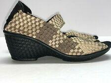 BERNIE MEV Gold Shimmer Pump Black Wedge Peep Toe Mary Jane Shoe Size 39 / 8.5
