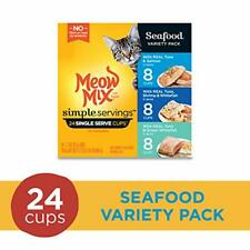 Meow Mix Simple Servings Seafood Variety Pack Wet Cat Food, 24 Cups
