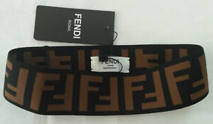 Fendi Elastic Headband Hair-Tie Brown Adult Size