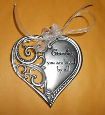 Ganz Metal Heart Shaped Ornament Grandma you are loved by all New