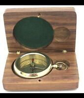 Brass Pocket Compass – Brass Compass –Camping & Hiking Compass with Wooden Case