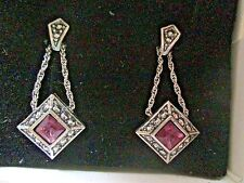 AVON*SLEEK DROP FAUX AMETHYST EARRINGS W/SURGICAL STEEL POSTS*SILVER-TONE*NIB*