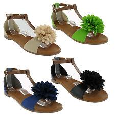 Flat Summer Holiday Open Toe Womens Sandals Soft Flower Shoes UK3-9