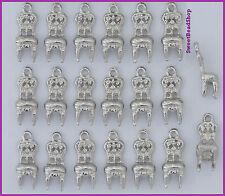 20 COLORE ARGENTO 18 x 6 mm Fancy Sedia 3D Charms