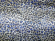 Blue Animal Satin Shiny Dress Fabric Print Leopard 150cm Wide SOLD PER METRE