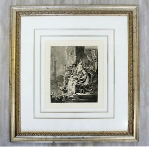 Antique 17th Cent. Framed Rembrandt Style Durand Christ Before Pilate Etching