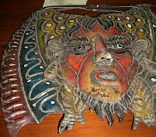 Folk Art  Mexico Tribal Mask Metal  Guerrero Copper   Bat  Face Antique-M-2