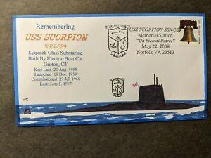 Submarine USS SCORPION SSN-589 Naval Cover 2008 EVERETT HAND-DRAWN Cachet