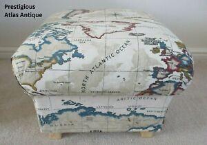Prestigious Atlas Antique Fabric Footstool Pouffe Footstall Maps Cream Countries