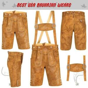 Authentic Men Oktoberfest Bavarian Lederhosen Leather Trousers Plain