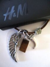 MENS H&M WING PENDANT BROWN LEATHER NECKLACE