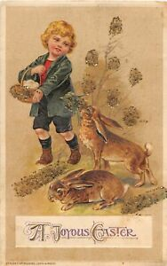 G67/ Easter Love Holiday Postcard c1910 John Winsch Signed Rabbits 9