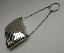 Vintage Art Deco 1927 Ladies Solid Silver Purse Cigarette Case & Finger Chain