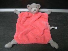doudou ours gris blanc plume rose fluo kaloo état neuf