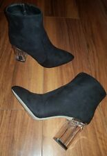 WOMENS LADIES SEXY NEW FORMAL GLAM CLEAR HEEL BLACK ANKLE BOOTS: UK 8 SIZE (41)